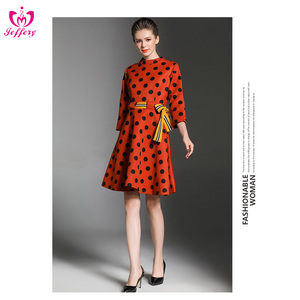 Latest round neck red and black wave point casual dress for ladies K1047