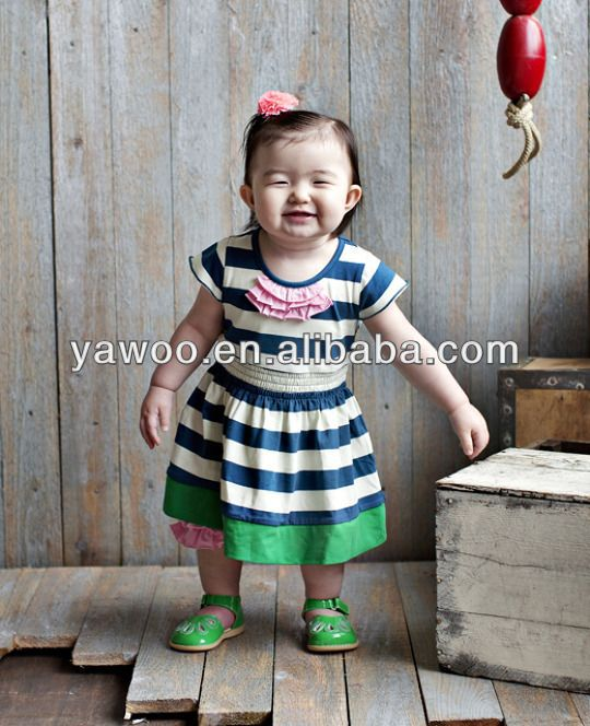 hot sale! Newest Wholesale Boutique cute baby cotton dress girls stripe knitted dress pattern for kids party birthday gift wear