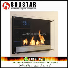 Indoor decorative wall mounted bio ethanol glass fireplace