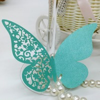 Unique customer design butterfly laser cut paper wedding wine Glass Cup Cards Place Name Card for party decoration