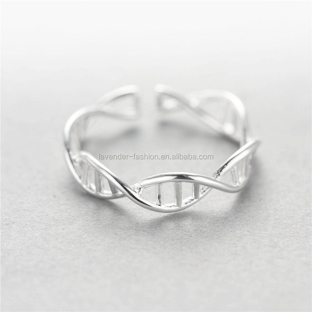 Best selling S925 sterling silver couple lovers rings DNA double helix structure rings