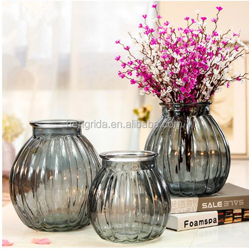 Best Selling Wide Mouth Spray Colored Glass Vase For Flowers And