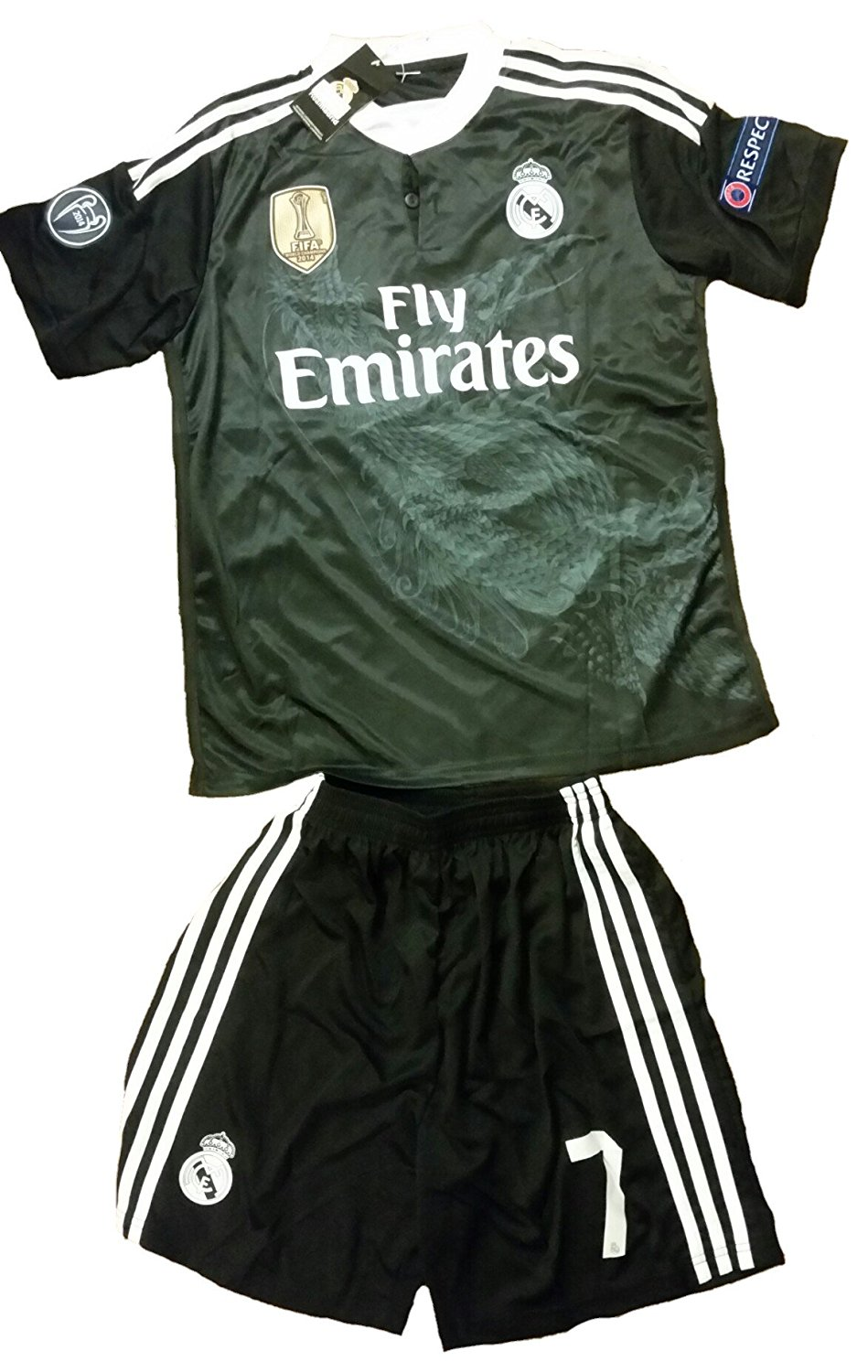 bbdc93e0c Get Quotations · Real Madrid Cristiano Ronaldo  7 Away Black Dragon Adult  Soccer Jersey with shorts