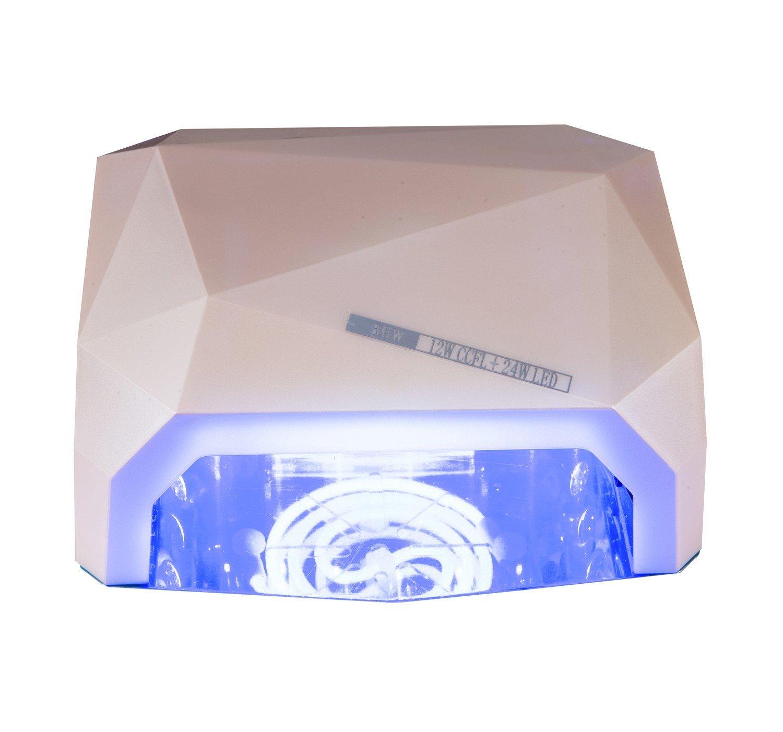 36W Nail Dryer-Lumcrissy Professional Diamond Shaped CCFL & LED UV Nail Lamp (UV & LED 2 in 1 Nail Gel Lamp), Curing Nail Dryer for LED UV Gel Nail Polish nail tools (Champagne)