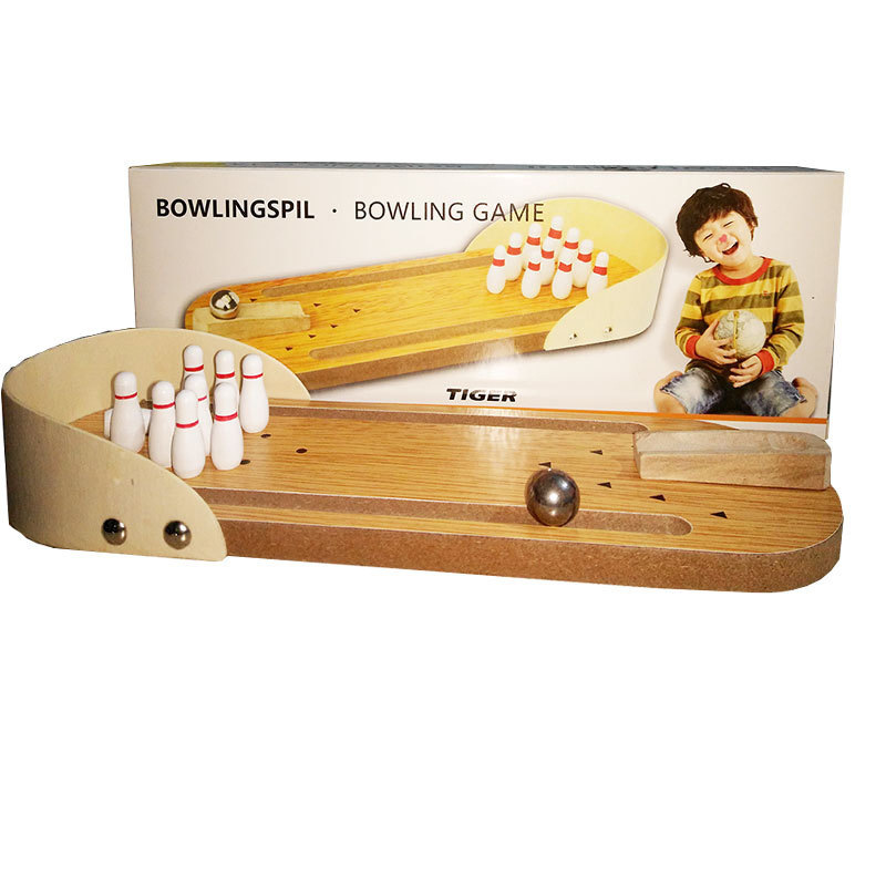 Wholesale high quality indoor kids sport game wood bowling pins toys