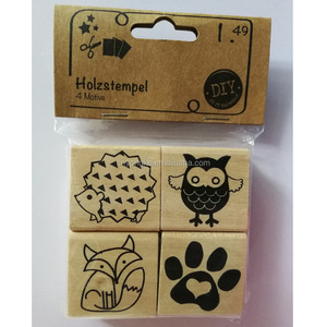 mini kids embossing wooden stamp set with ink pad