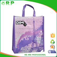 Customized printed luxury promotional aper shopping bag purple