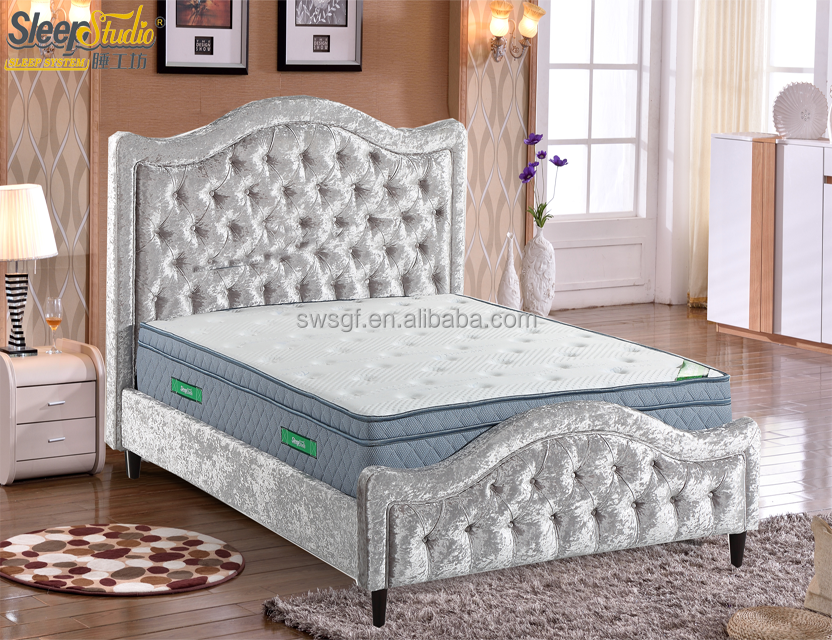 Rococo Bed/Velvet Fabric Upholstered Bed Frame With Special Footboard Designs