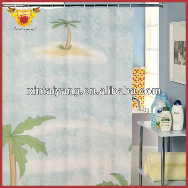 Coconut Tree Printed Shower Office Curtains Pictures
