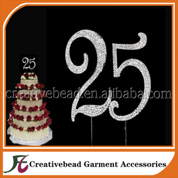 Large Rhinestone Cake Topper NUMBER 25 25th Birthday Anniversary Great Gift Idea