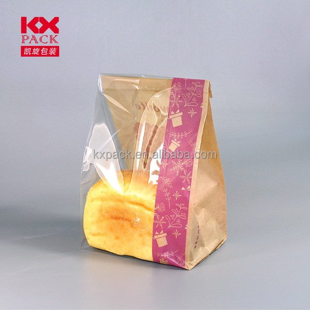 Kraft paper print packing bags with clear plastic film