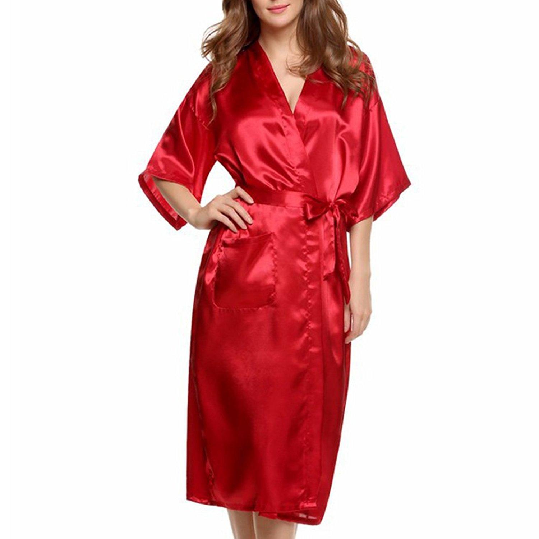 Get Quotations · Amurleopard Women s Kimono Robe Bridal Lingerie Sleepwear  Long Satin Robe Red L 056f7229a