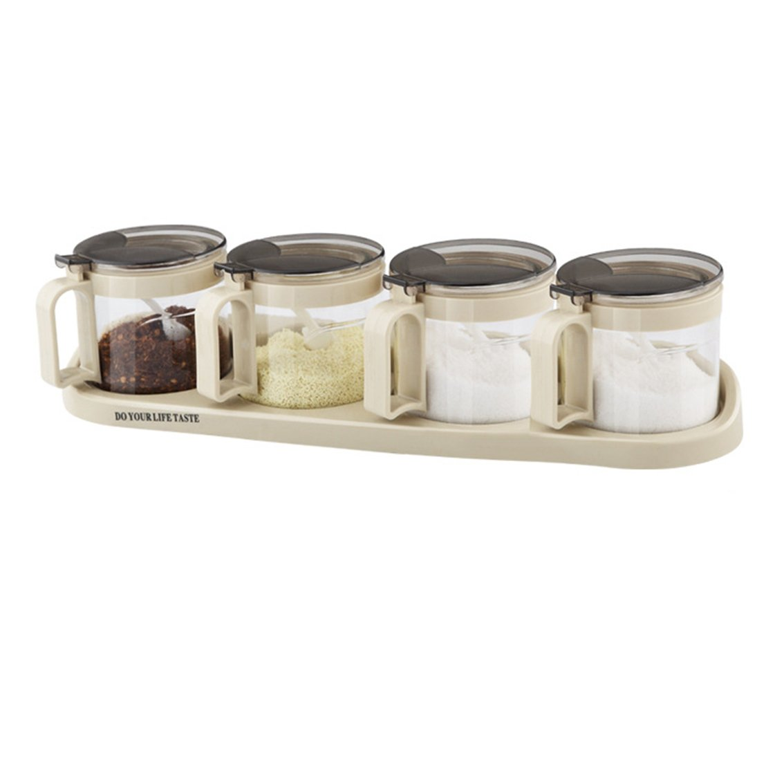 Relaxdays JIAO Bamboo Spice Preserving Glass Jar Set 12 x 31 x 12 cm Spice Holder of 3 Glass Containers with Spoons as Alternative to Spice Rack Kitchen Storage Natural