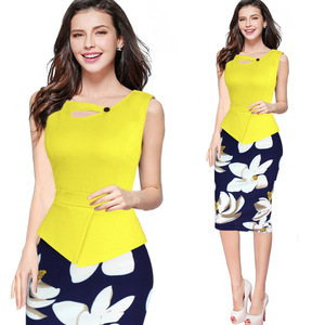 2017 Women's O Neck Print Floral Elegant Pencil dress daily Wear to Work