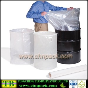 Flexible round bottom plastic drum liner bags, salvage drum liner