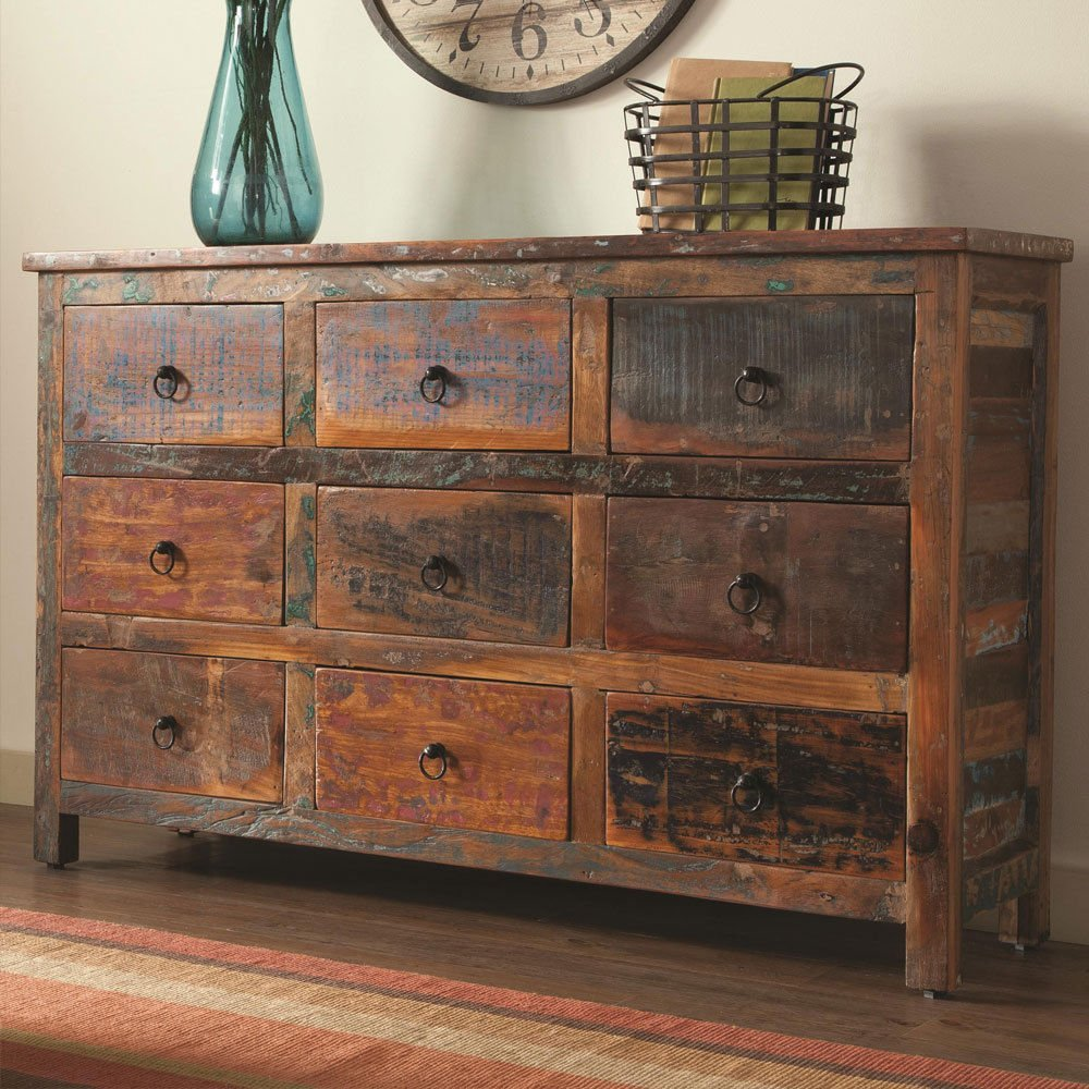 Charmant Get Quotations · 1PerfectChoice India Antique Accent Cabinet Console Table  Rustic Reclaimed Wood Mix Teak Drawer