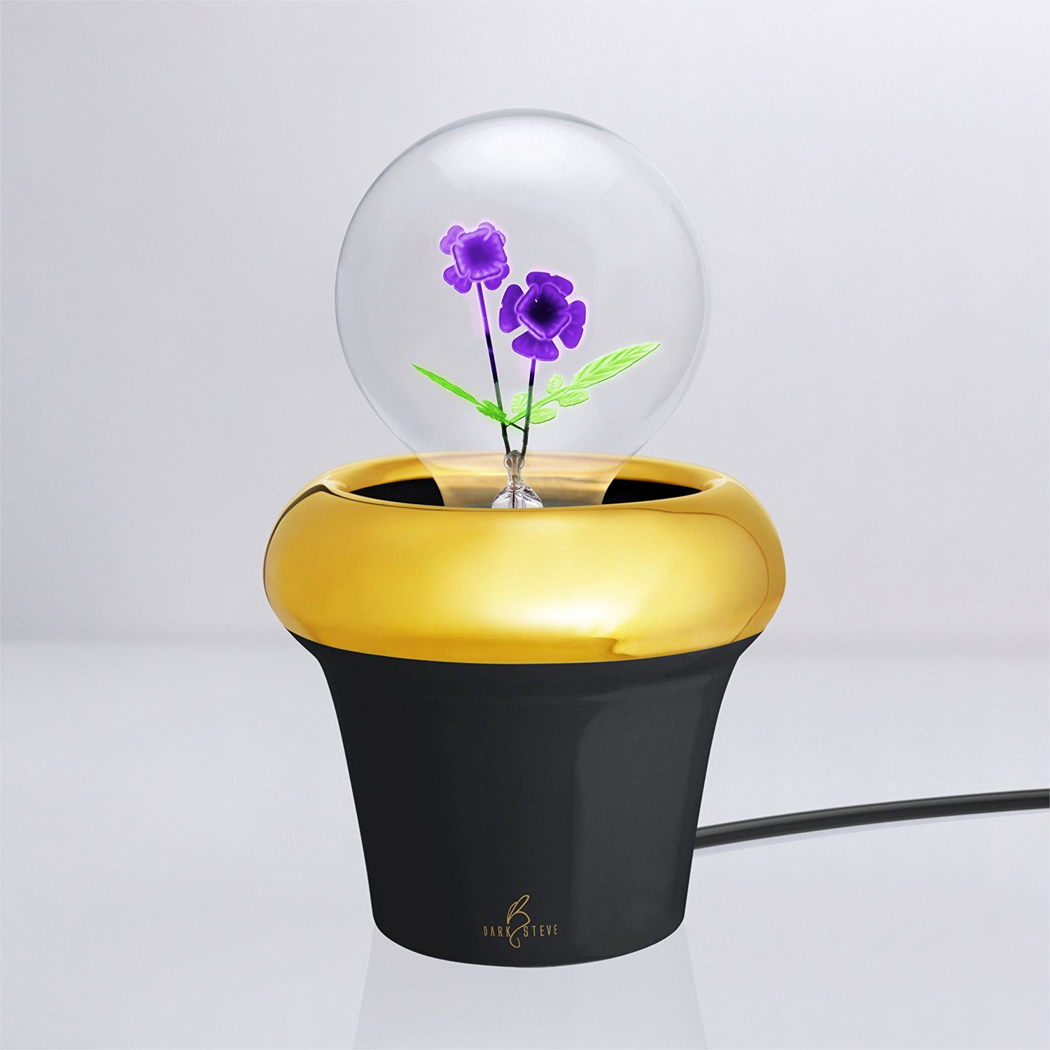 DarkSteve - Royal Pot Collection | Handmade porcelain, add the Designer Light Bulb / Edison Light Bulb, you can enjoy yourself in a more relaxing atmosphere | for Adults & Teens | Great for Gift | Novelty Night Light, Bed Side Lamp | Black porcelain | Lamp x 1pc (Light Bulb Not Included) | Special