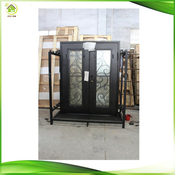 Modern Wrought Iron Double Front Entry Doors Iron Exterior Doors