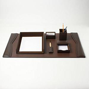 Bonded Leather Desk Set (6 Piece) (Chocolate Brown Leather with Gold Accents)