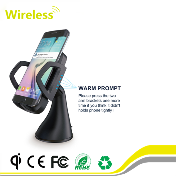 3 Coils Good Quality QI Fast Charging Wireless Car Charger Stand Holder