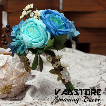 Navy Blue Rayal Bridal Bouquet Silk Artificial Rose Blossom Winter Spring Rustic Wedding
