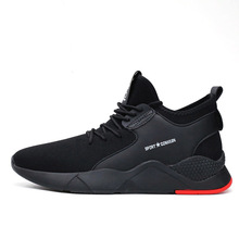 2019 fashion breathable slip on black sneakers air knitted running casual men shoes