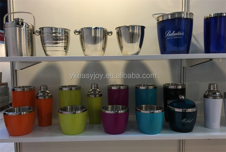 Customized Stainless Steel Plastic Tequila Brandy Cocktail Rum Martini Vodka Beer Whisky Wine Ice Bucket/Wine Cooler With Handle