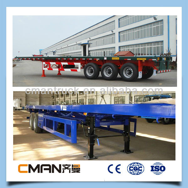 2015 new 3axle 20 feet or 40 feet steel coil transport flat bed lorry trailer for sale