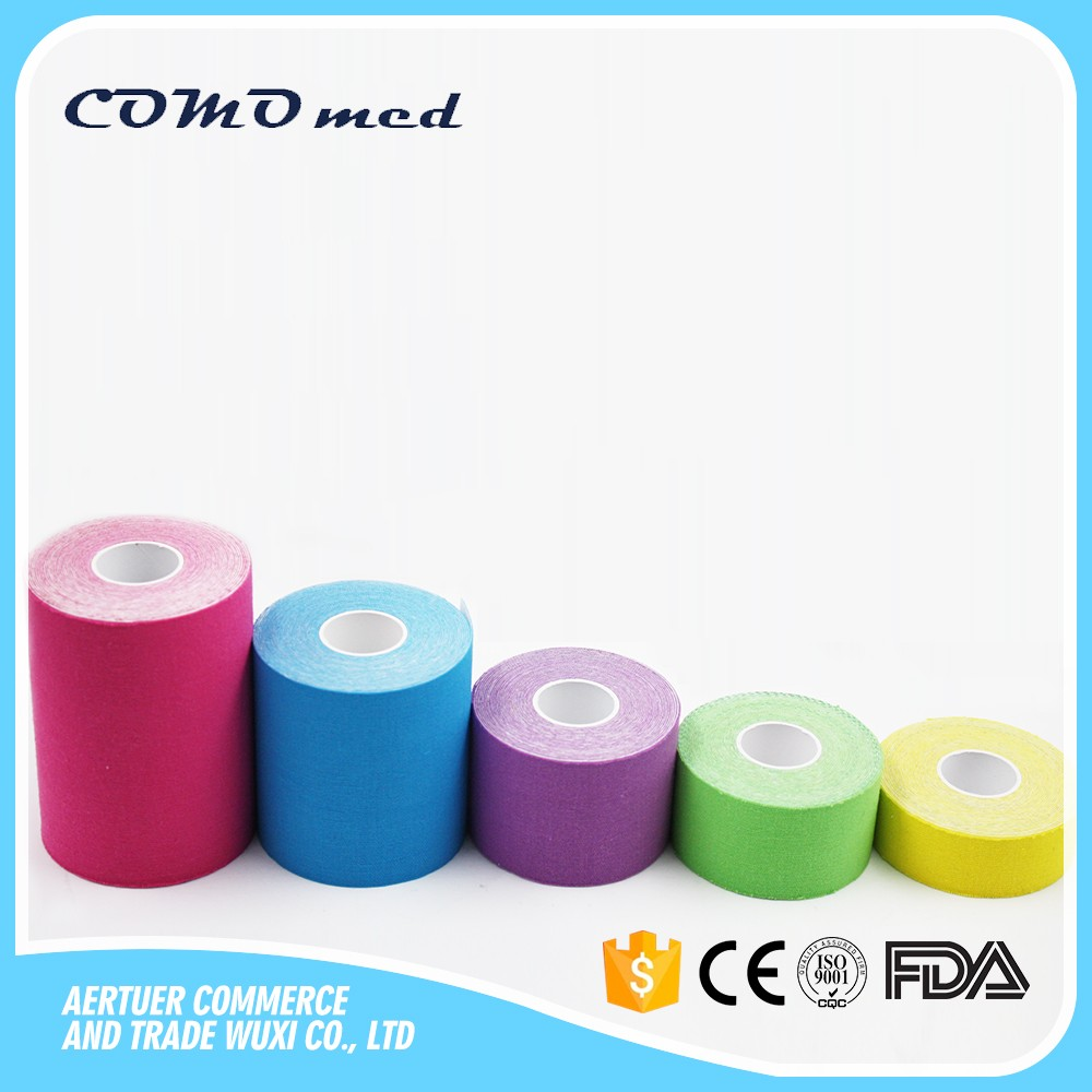 5cm*31.5m waterproof strong adhesive elastic cotton bandage water resistant economic kinesiology sport cure