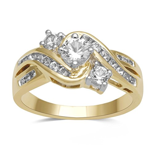 Jewelili 14KT Yellow Gold plated Sterling Silver 3 Stone Created White Sapphire And Accent Diamond Ring, Size 7