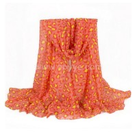 New Europe and the United States voile cotton fiber fluorescence orange silk leopard scarf