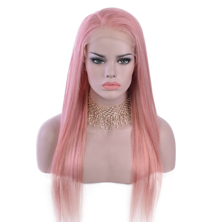 Natural Straight Long Pink Wig Human Hair For Sale фото