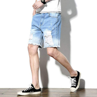 2019 OEM high quality black man denim Biker unbranded destroy denim short cheap jeans shorts men