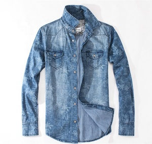 FAST OEM PRODUCE MENS PRINTED AND GARMENT WASHED COTTON JEANS SHIRTS