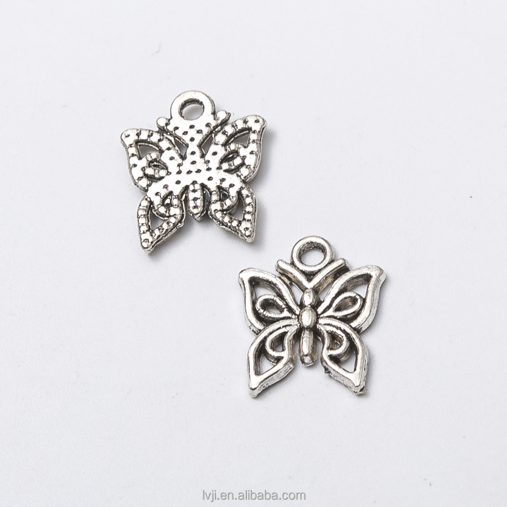 Antique silver lovely butterfly charm <strong>pendant</strong> for jewelry making