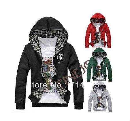 Men's Slim Fit Top Designed Hoodies Jacket Coats Double Side Wear 4 Color 9312