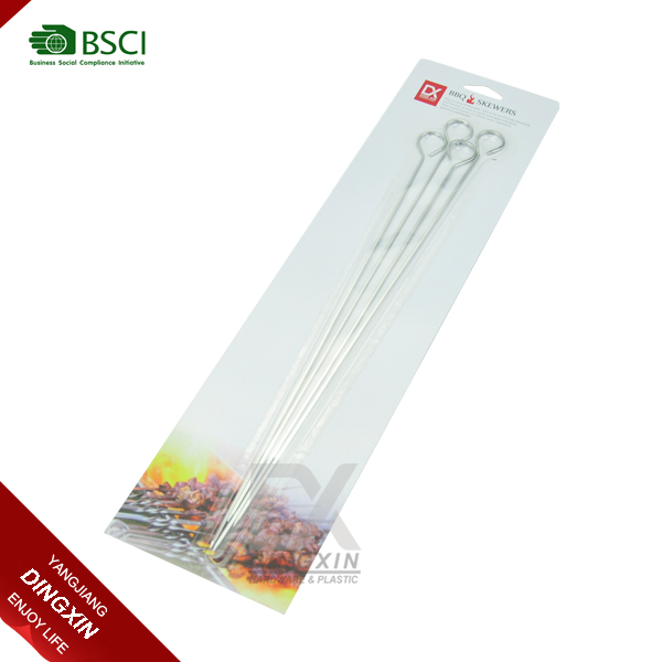 4pcs Stainless Steel Kabob Grilling BBQ Stick Skewers
