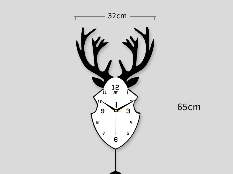 Wholesale Stock Small Order Bedroom Household Decorative Simple Antlers Swing Wall Clock