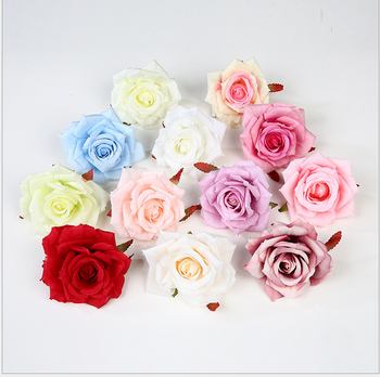 High quality 10cm fabric artificial red silk big rose flower heads