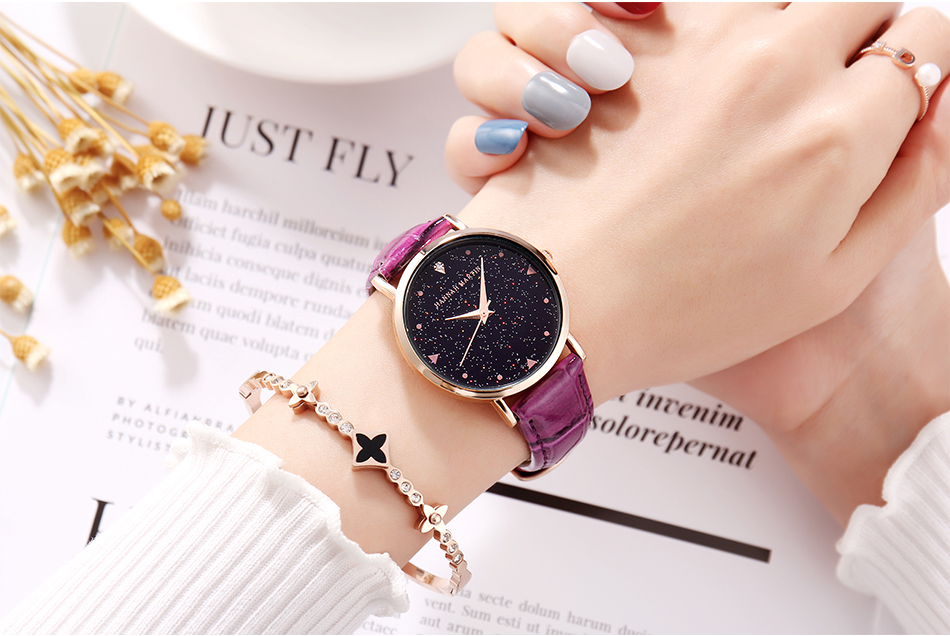 Japanese movement waterproof starry sky commute OL watch, fashion belt simple female watch