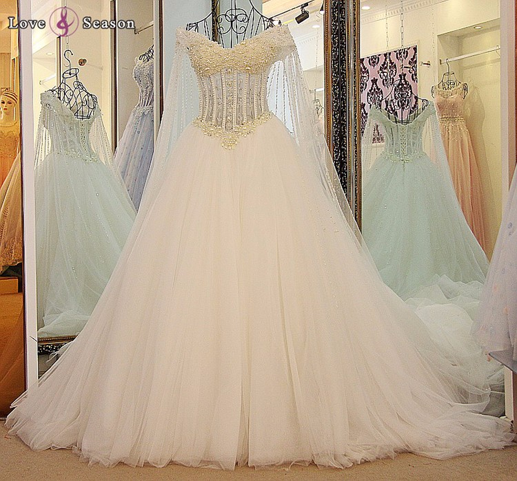 Ls55800 Light Purple Pearls Sheer Arab Bridal Gown Wedding Dress ...
