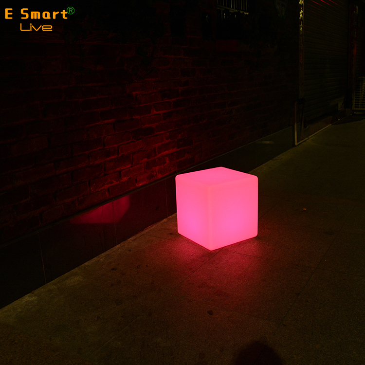 Lighting modern furniture cube chair led plastic hollow large lighted acrylic led cubes