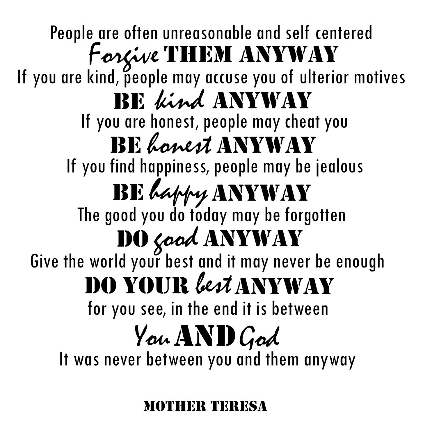 Mother Teresa Quotes Inspirational Wall Decals Vinyl Wall Art: A Wall Decal Inspiring Quotes - Famous Quotes Wall Decor - Wall Art Stickers Quote Decals - Best Removable Wall Decals - Brown
