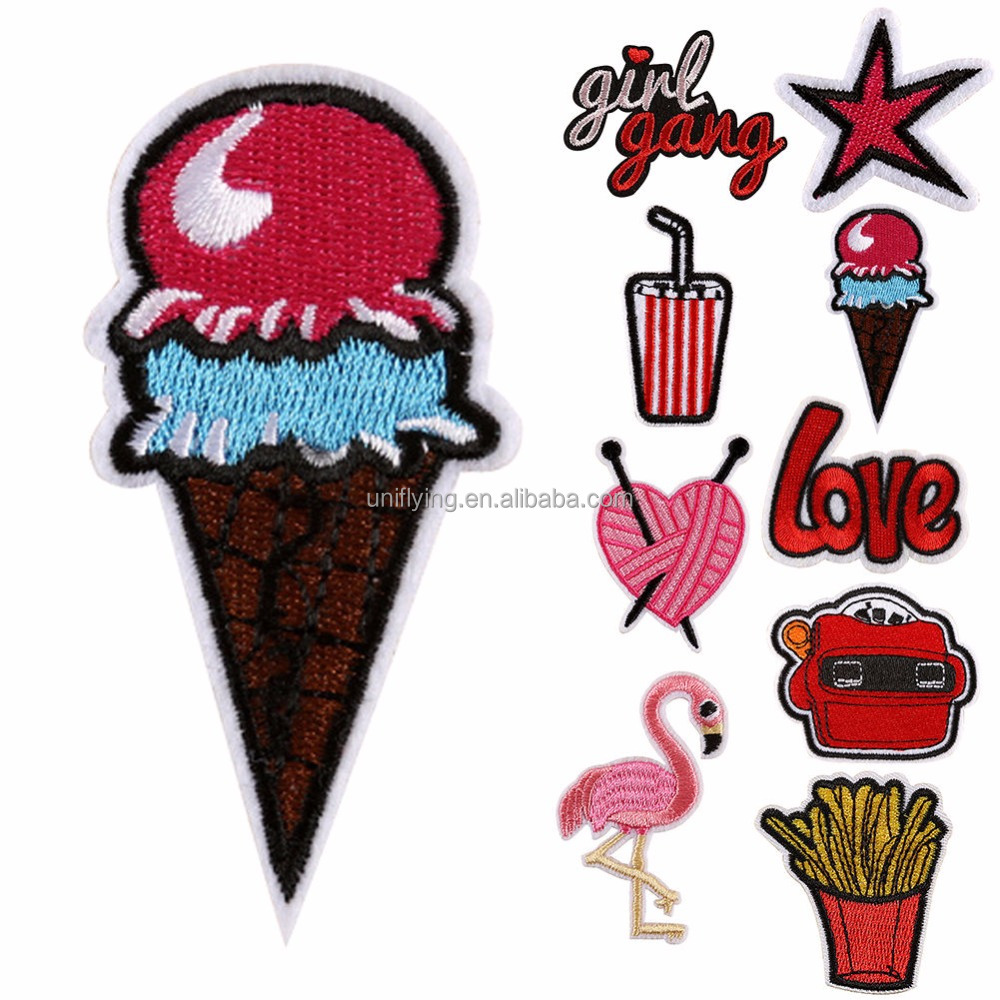 Wholesale Cheap Custom Patch Ice Cream Design Iron On Good Quality Embroidery Product