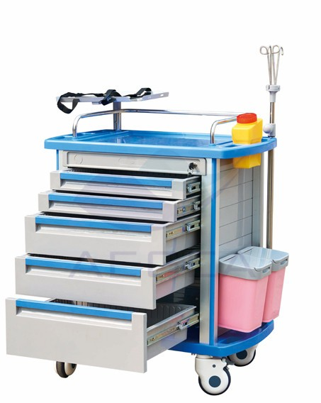 AG-ET001A1 mobile emergency crash abs hospital medical trolley cart supplier