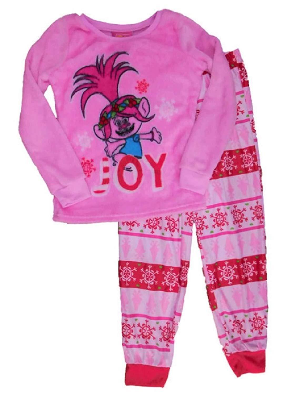get quotations trolls princess poppy christmas pajamas holiday fleece sleep set girls medium pjs - Girl Christmas Pajamas