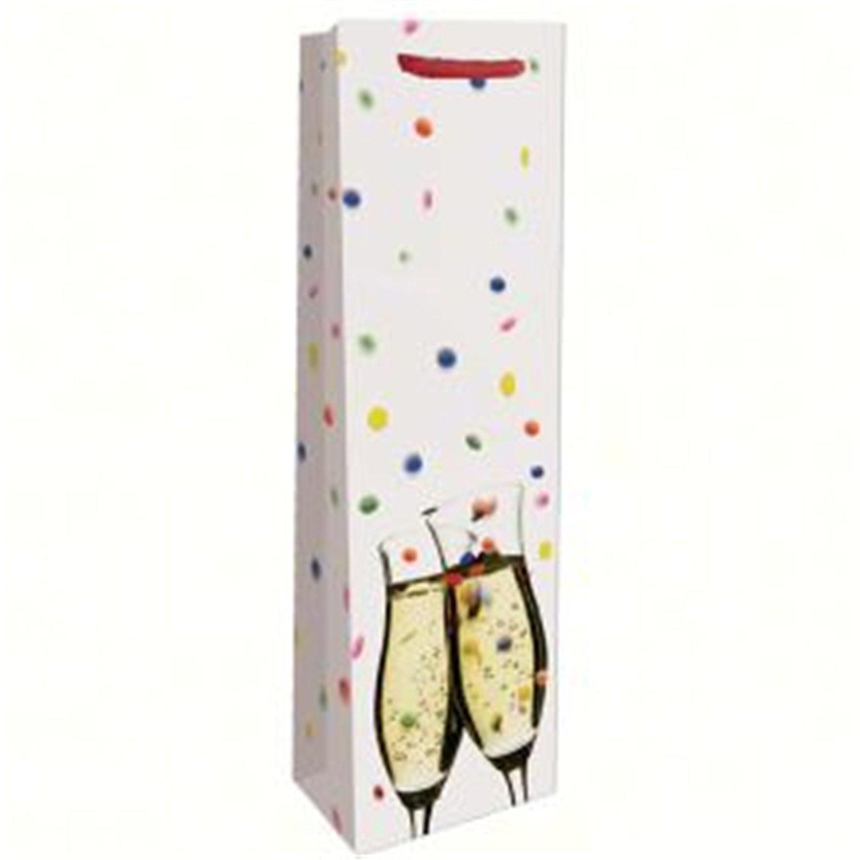 Bella Vita BVP1CONFETTI Printed Paper Single Wine Bag - Confetti