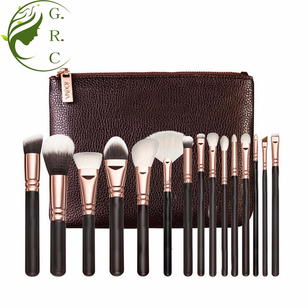 Manufacturers selling 15pcs rose gold makeup brush set with zipper bag Soft Synthetic Hair for cosmetic brushes beauty makeup