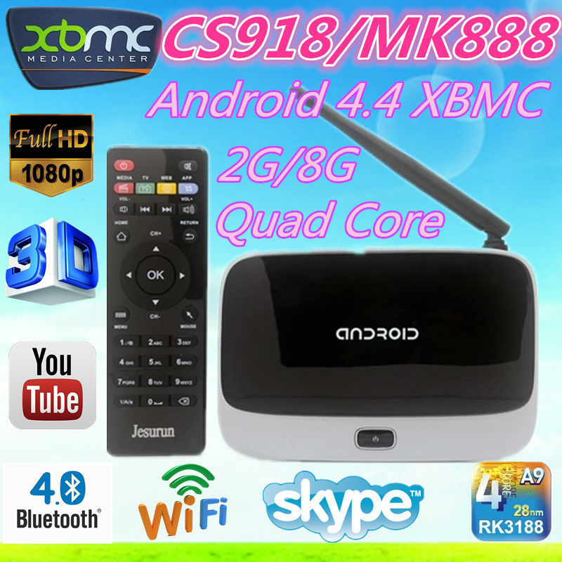 2016 Fashion design ! CS918 Android4.4 tv box RK3188 28nm Quad core cs 918 tv box