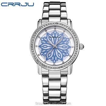 bb40b7cc87e5 CRRJU vestido de lujo de la marca de reloj de moda mujer Damas Rosa oro  diamante